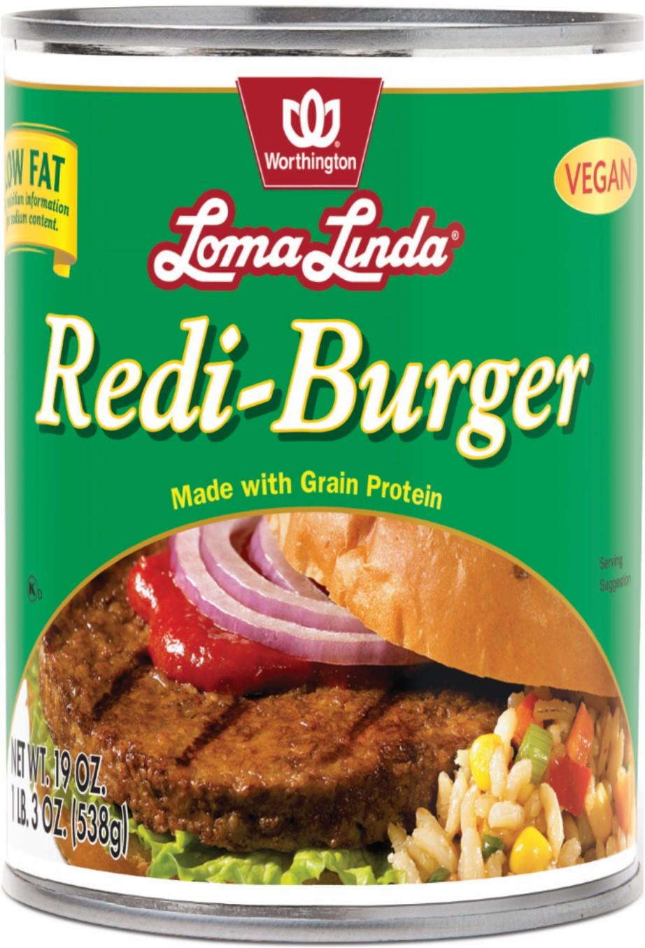 REDI BURGER LOW FAT CASE,LOMA LINDA LF,100056