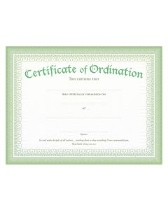 CERTIFICATE OF ORDINATION GREEN FOIL,CHRISTIAN LIVING,U2771