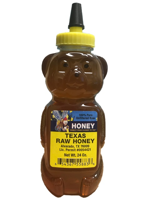 TEXAS RAW HONEY BEAR 24 OZ,TEXAS RAW HONEY,654367558836