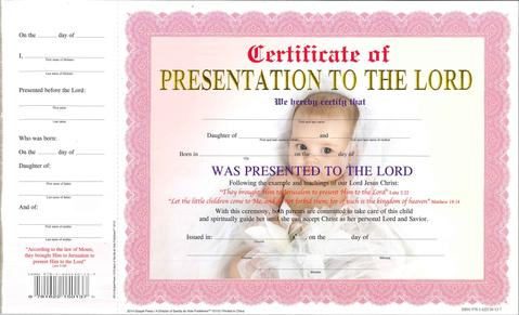 BABY DEDICATION GIRL,CERTIFICATE,12112